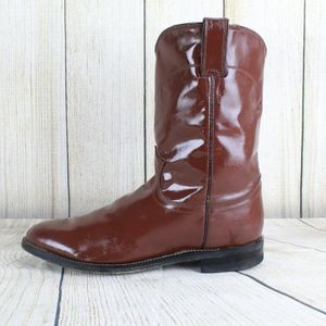 Justin 3404 Brown Leather Pull On Roper Boots 9.5